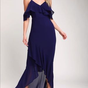 Lulus Caden Royal Blue Off-the-Shoulder Maxi Dress